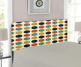 Lunarable Polka Dot Headboard, Colorful Circular Shapes Pattern Stripe Patterned Vertical Polka Dots, Upholstered Decorative Metal Headboard with Memory Foam, for Twin Size Bed, Multicolor