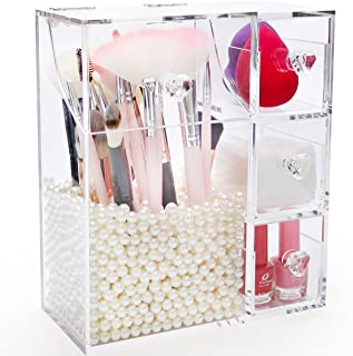 Makeup Brush Holder with Lid,Large Cosmetic Brush Organizer with 3 Drawers,Dust-proof Box with Pearls for Lipsticks,Sponge,Brush,Makeup Tools,Clear - NEWCREA