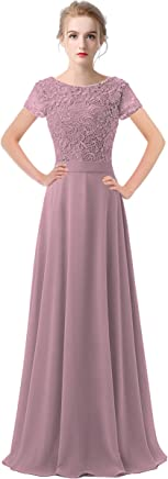 fa9701a8b4 Lily Anny Womens Long Lace Bridesmaid Dresses Prom Gown with Short Sleeves  L061LF
