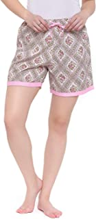 Zinniars Floral Printed Elegant Comfortable Cotton Blend Night Shorts Ideal for Women (Z-NS-005)