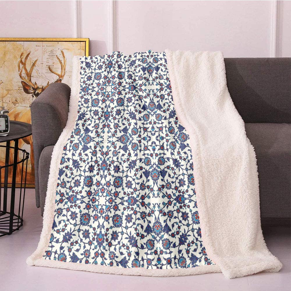 SeptSonne Orient Plush Popular overseas Blanket Moroccan Luxury Floral Vict with Pattern