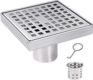 JOMAY Square Shower Drain 5 Inch with Removable Grid Pattern Grate Cover, Fast Drainage Shower Floor Drain for Bathroom, Rustproof Brushed SUS304 Stainless Steel with WATERMARK&CUPC Certified