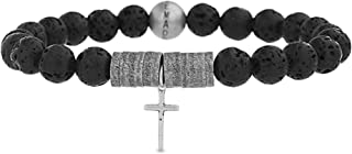 Men's Bead and Discs with Cross Charm Stretch Bracelet in Stainless Steel