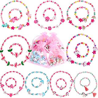 Hicdaw 18PCS Toddler Costume Jewelry Animal Friends Necklace Bracelet Set for Unicorn Party Favors Dress Up Gift for Girls