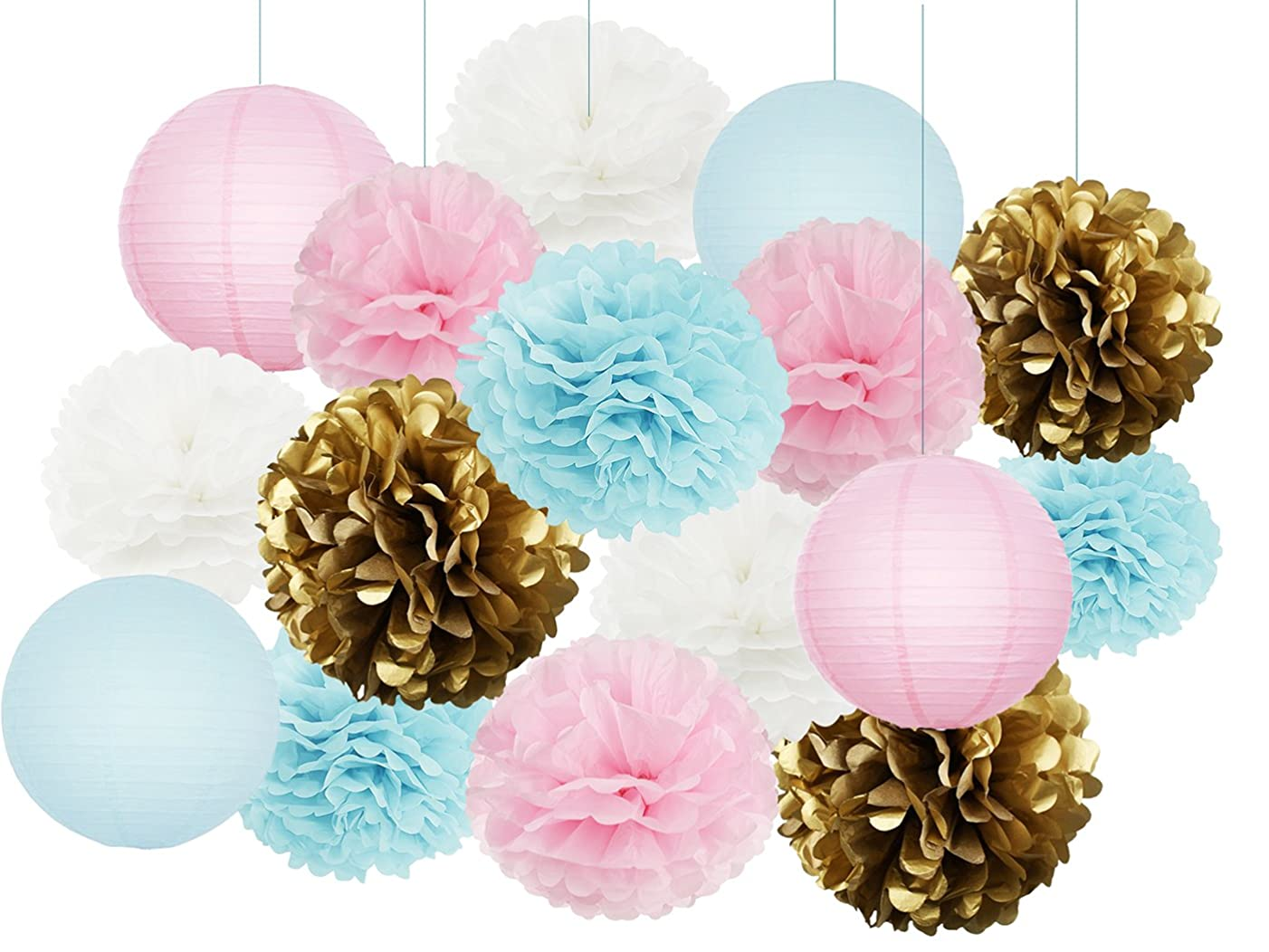 Gender Reveal Party Supplies Boy or Girl Baby Shower Decorations Baby Blue Pink White Gold Tissue Paper Pom Pom Paper Lanterns for Pink and Blue Decorations/Gender Reveal Party Decorations