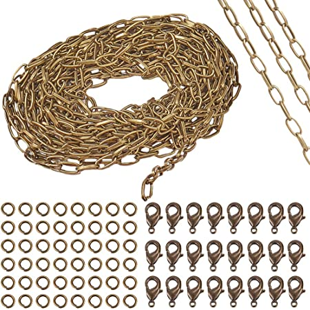 Bronze Coolty 39 Feet//13 Yards Plated Cable Chain Necklace Link Cable Chain Necklace with 30pcs Lobster Clasps and 100pcs Jump Rings for Necklace Jewelry Accessories DIY Making