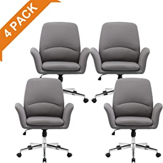 NOVIGO Office Home Accent Chair with Wheels and Upholstered Seat Cushion for Conference Room Study Grey 4 Pack