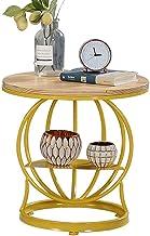 Living Room Furniture Metal Nordic 2-Tier Shelf Round Side Table Wooden Countertop & Irregular Metal Frame Coffee Table Sm...