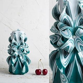 Vela Tallada Turquesa Blanca - Ideas de Obsequio Cumpleaños - Tallado a Mano Decorativo – EveCandles