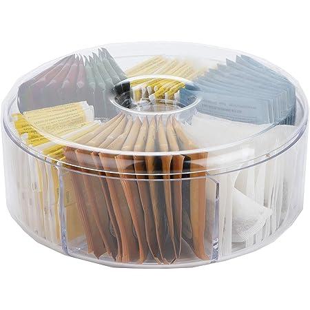 Mind Reader - Organizador y almacenamiento de acrílico con 6 compartimentos para bolsa de té con tapa, organizador redondo para cocina, transparente, redondo, transparente