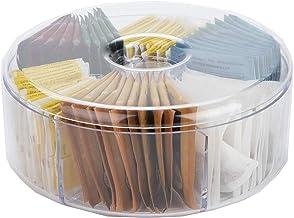 "Mind Reader TEACIR6-CLR Acrylic Storage & Organizer 6 Compartment Tea Bag Holder with Lid, Round Pantry Organizer for Kitchen, Clear, 8"" D x 3.25"" H"