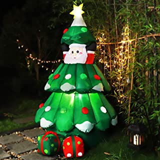 VIVOHOME 6ft Height Inflatable LED Lighted Christmas Tree with Pop up Santa and 2 Gift Boxes Blow up Outdoor Yard Decoration