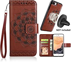 CASEOWL iPhone 8 Plus Case,iPhone 7 Plus Flip Embossed Leather Wallet Cases with Protective Detachable Slim Case Fit Car Mount, Mandala Flower Design with Card Slots, Strap for iPhone 7/8 Plus[Brown]