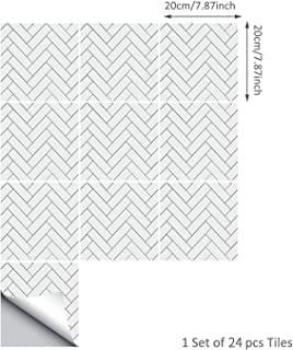 ENCOFT 24 Piezas Pegatinas de Baldosas Pegatinas de Azulejos Auto-Adhesivo Blanco Pegatina Pared Revestimiento Border Decorativo Impermeable para Cocina y Baño (20x20 cm)