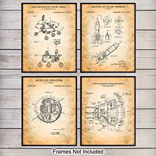 NASA Space Exploration Patent Art Prints - Vintage Wall Art Poster Set - Chic Modern Home Decor for Kids Room, Man Cave, Office, Den - Great Gift for Boys, Men, Science Fans - 8x10 Photo - Unframed