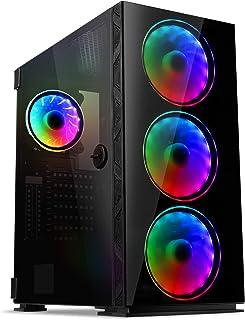 قاب GIM MB8 ATX ، شاسی مخصوص بازی Mid-Tower PC ، کیف کامپیوتر کم حجم با صفحه شیشه ای معتدل ، 4 فن RGB از قبل نصب شده ، آماده خنک کننده آب ، سیستم مدیریت کابل - سیاه