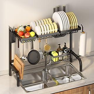 home magic Égouttoir à Vaisselle en avec Inoxydable, Egoutoire Vaisselle Cuisine INOX à 2 Niveaux Réglable Convient à la P...
