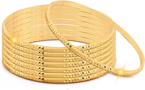 Brass Non Precious Metal Gold Plated Gold Plated Bangle For Women Girls Set Of 8