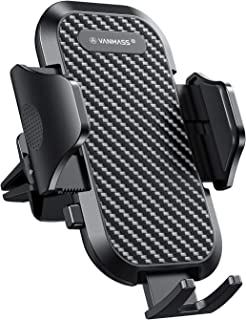 VANMASS Car Phone Holder, Adjustable Cell Phone Mount, Universal Air Vent Cradle with One Button Release, Sturdy 2 Grade Clip, Carbon Fiber Backrest & Protection, Compatible 3.5-6.5 Inches Phone