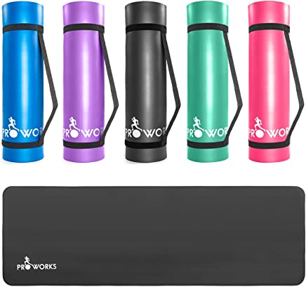 Proworks Large Padded Yoga Mat with Carry Handle for Pilates/Exercise/Gymnastics – Black/Blue/Purple/Green/Pink