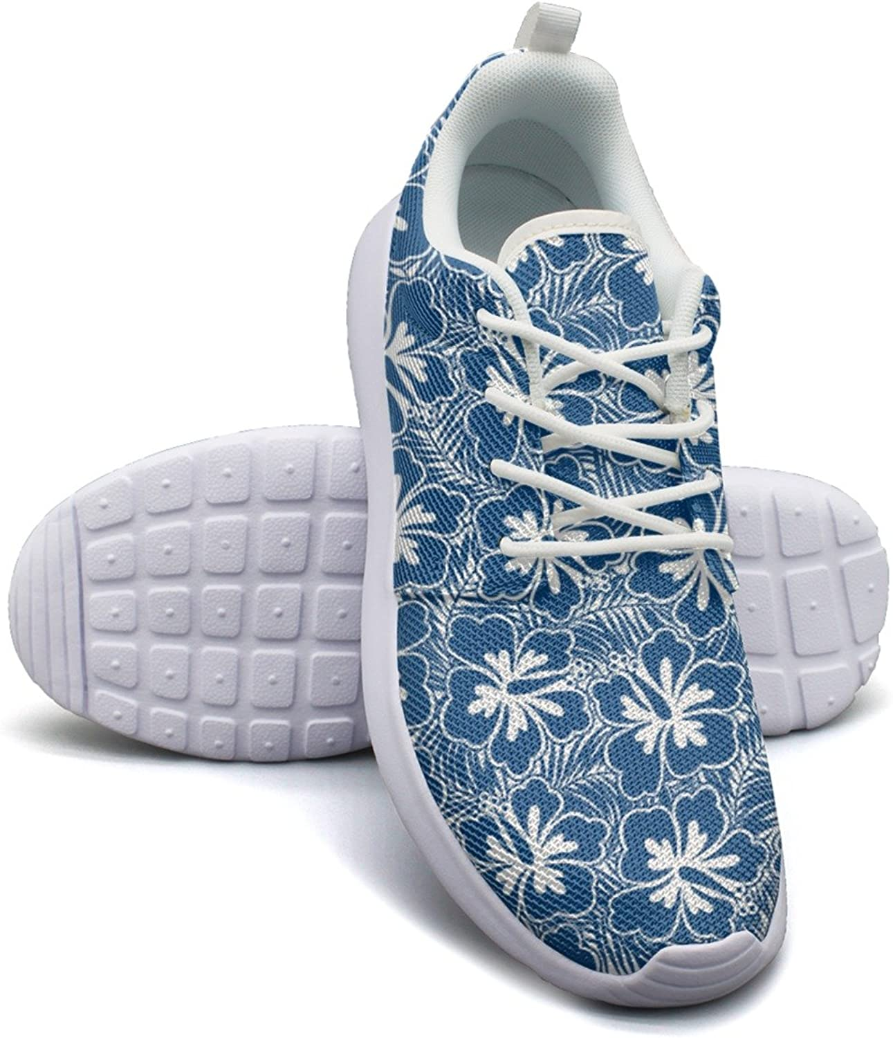 Hibiscus bluee Flowers And Tropical Leaves Women's Fashion Tennis shoes Hip Hop Mesh Lightweight Tennis Sneakers