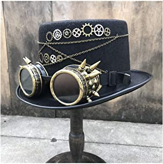 SHENTIANWEI Men Women Vintage Handmade Steampunk Top Hat with Gear Glasses Stage Magic Hat Bowler Hat Top Hat Size 57CM