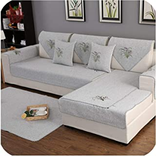 Pastoral Floral Embroidery Grey Blue Cotton Weaving sectional Sofa Cover for Living Room Sofa Couch Covers,Grey per pic,70cm150cm 1piece