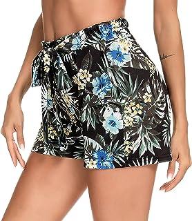 Chriselda Shorts Mujer Ropa de Playa Mujer Pantalones Deportivos Mujer Short Casual con Cintura Elástica Pierna Ancha con ...