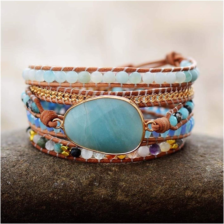 AOSUAI Wrap Omaha Mall Bracelets Jewelry Handmade Stone Lea Crystal Oakland Mall Natural