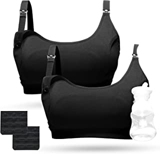Pumping Bra, Momcozy Hands Free Nursing Bra for Pumping 2 Pack Supportive Comfortable All Day Wear Pumping and Nursing Bra...