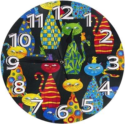 掛け時計 カラフルな猫 電波掛時計 本体サイズ:直径25×0.5cm 電波 アナログ コンパクトサイズ