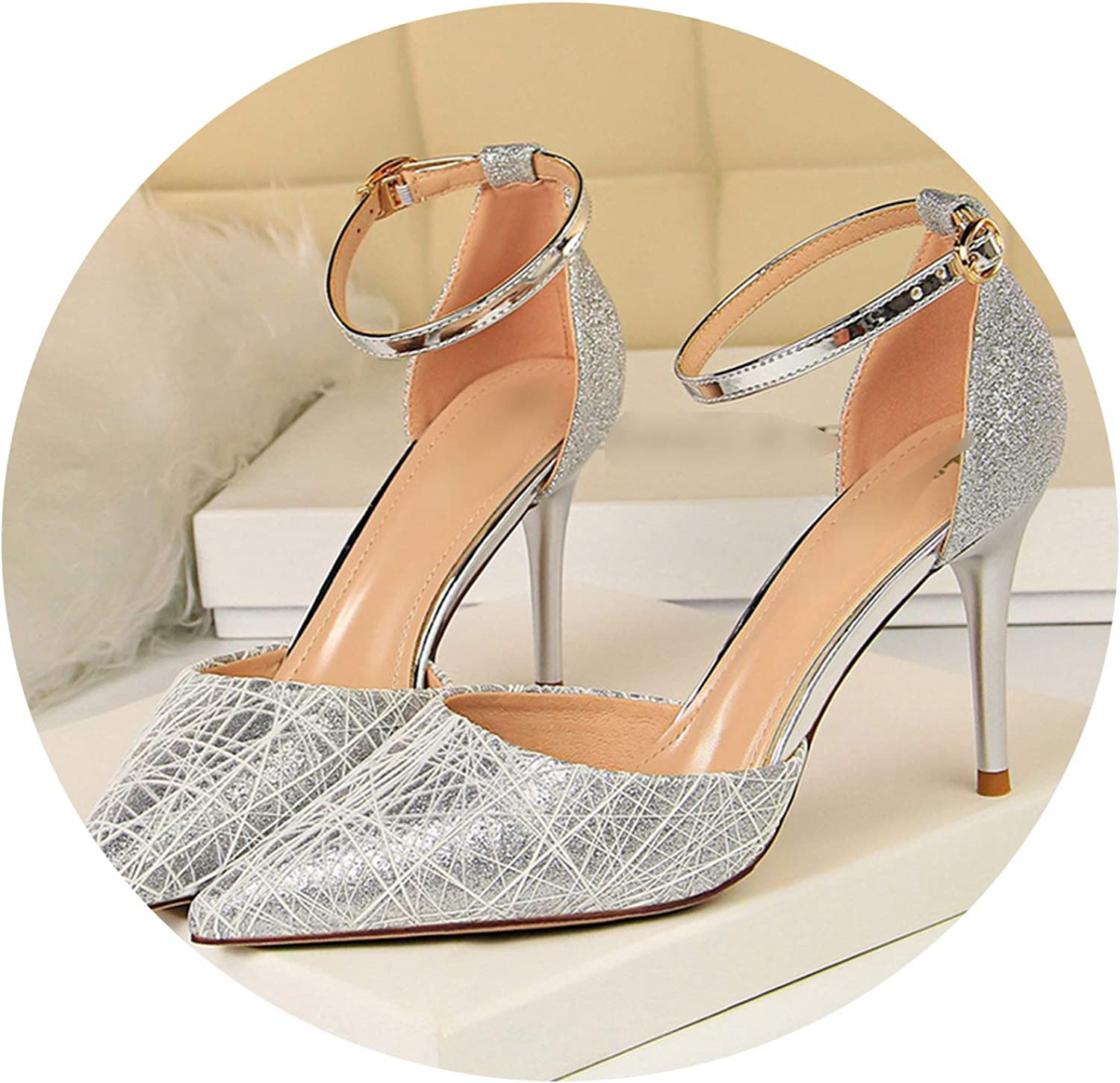 2019 High Thin Heels Women Heels Pointed Toe Party Buckle Strap Sexy Solid shoes Size 34-40