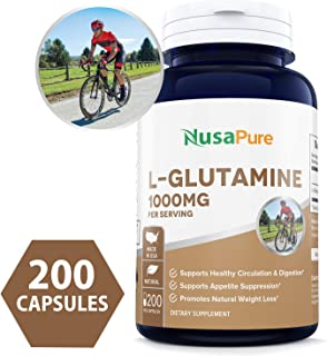 L-Glutamine 1000mg 200 Capsules (Vegetarian, Natural, Non-GMO & Gluten Free) Supports Muscle Mass, Gastrointestinal Tract & Immune Function - 500mg per Caps