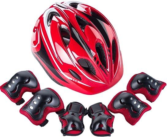 YAKOK Juego de casco para niños, 7 piezas, casco de seguridad ...
