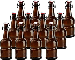 Teikis 16oz Kombucha/Beer Glass Bottles (Amber, 12-Pack) with Funnel and Brush (Non Slip Style)