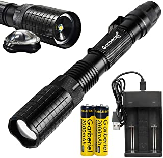 Garberiel Tactical Police LED Handheld Lantern Flashlight Outdoor 5 Modes 18650 Aluminum Zoom Waterproof Torch Lamp Light ...