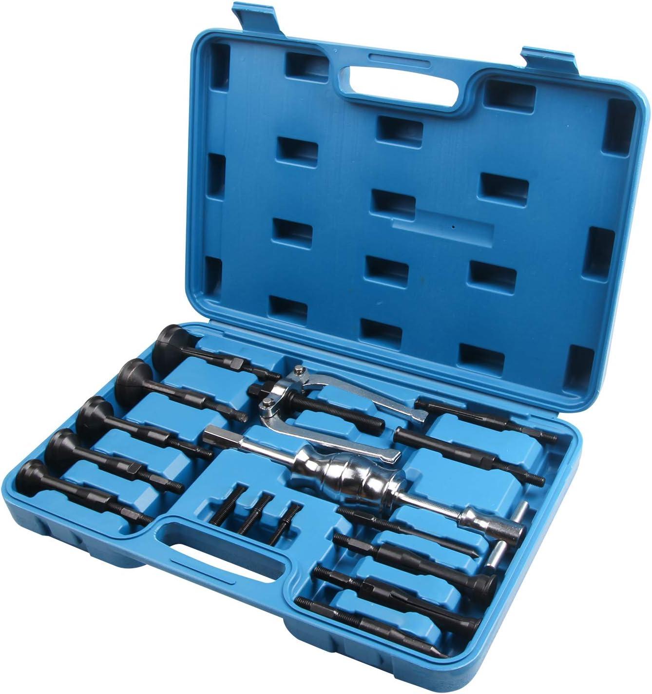 LLCTOOLS Extractor de rodamientos interiores para perros, herramienta especial para el coche, herramienta de 16 piezas con un martillo deslizante