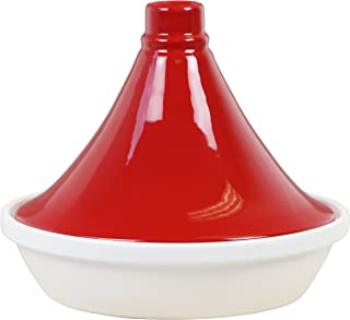 Calypso Basics by Reston Lloyd Porcelain Flame Proof Tagine, 2.5 Quart, Red