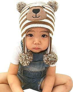 Happy Cherry Baby Beanie Earflaps Hat Infant Toddler Unisex Soft Warm Knit Hat Kids Winter Fleece Lined Hat