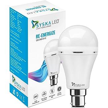 Syska Inverter SSK-EMB-07-01-B22 7-Watt Rechargeable Emergency Bulb (White)
