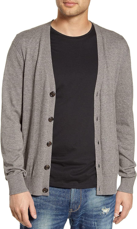 John Varvatos Star USA Mens Madison Cotton & Yak Hair Cardigan Large Nickel