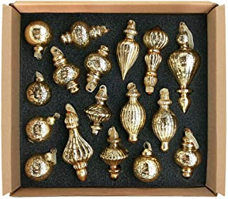 glasburg Size S Gold Christmas Glass Drop Ornament(17 Ornaments)