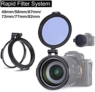 Filter Ring Adapter, Camera Lens Filter Metal Stepping Ring Rapid Filter System Compatible for Canon Nikon Sony Olympus DSLR Camera, 49/58/67/72/77/82mm Available, 1 Pack