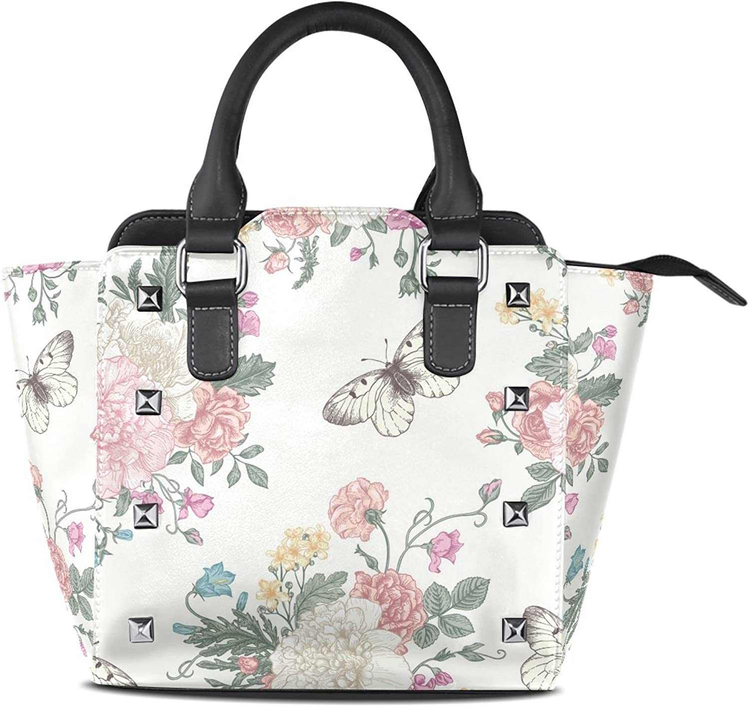 Sunlome Retro Flowers And Butterflies Print Handbags Women's PU Leather Top-Handle Shoulder Bags
