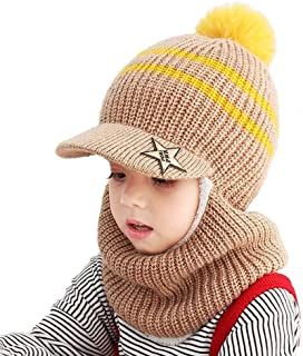 AMAZACER Baby Winter Warm Hat Scarf Toddler Girls Boys Ear Flaps Hood Balaclava Kids Fleece Lining Knit Pompom Beanie Hat with Visor Ski Snow Caps for 1-5 Years (Color : Coffee)