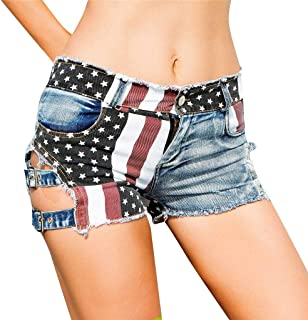 Women America Flag Denim Jeans High Waist Hole Pockets Mini Shorts Casual Summer Pants Vintage Ripped Hole Jeans