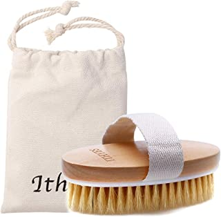 Ithyes Dry Brushing Body Brush Exfoliating Brush Natural Bristle bath Brush for Remove Dead Skin Toxins Cellulite,Treatment,Improves Lymphatic Functions,Exfoliates,Stimulates Blood Circulation
