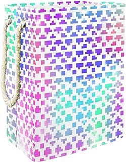 EZIOLY Panier à linge coloré avec écailles de sirène - Pliable - Avec poignées - Supports détachables - Étanche - Pour org...