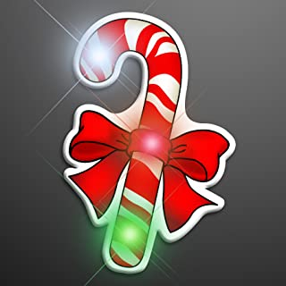Christmas Candy Cane Light Up Flashing LED Lapel Pins (Set of 5)