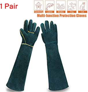 Sporting Style Animal Handling Gloves- Scratch/Bite Resistant Protective Gloves, Breathable Canvas Lining for Dog Cat Bird Snake Parrot Lizard Wild Animals Protection Gloves